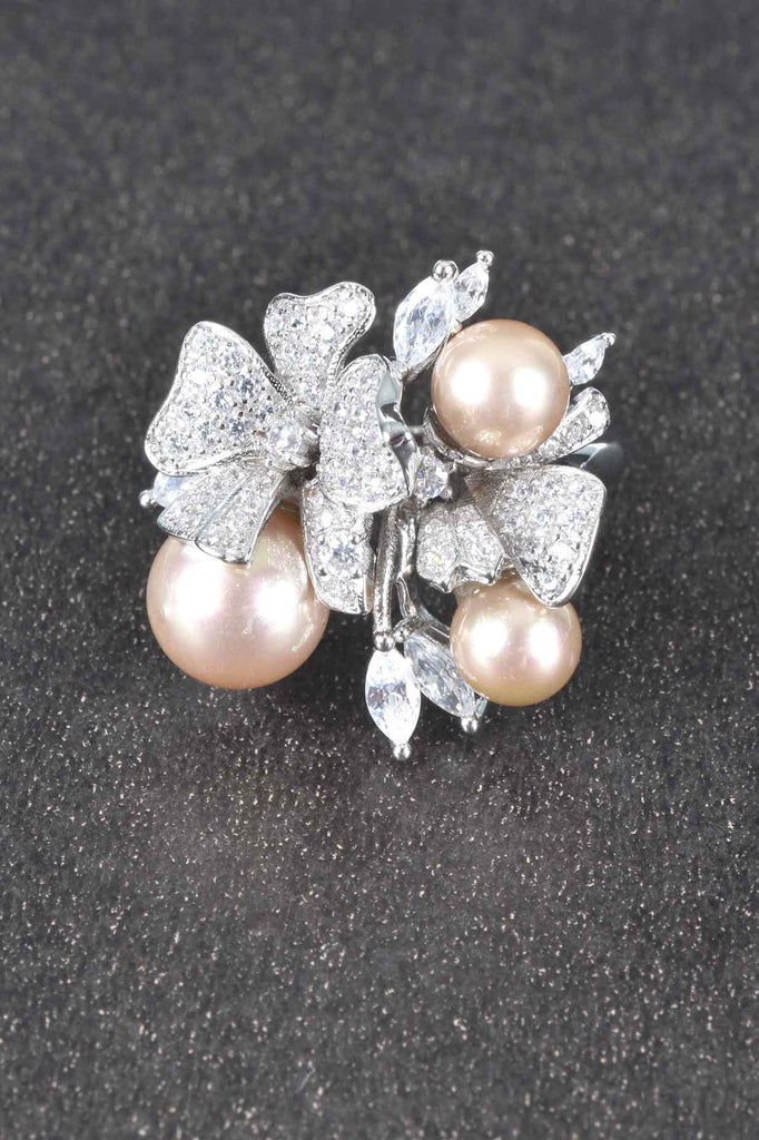 Bouquet of Pearls and Pave Flowers Design Ring