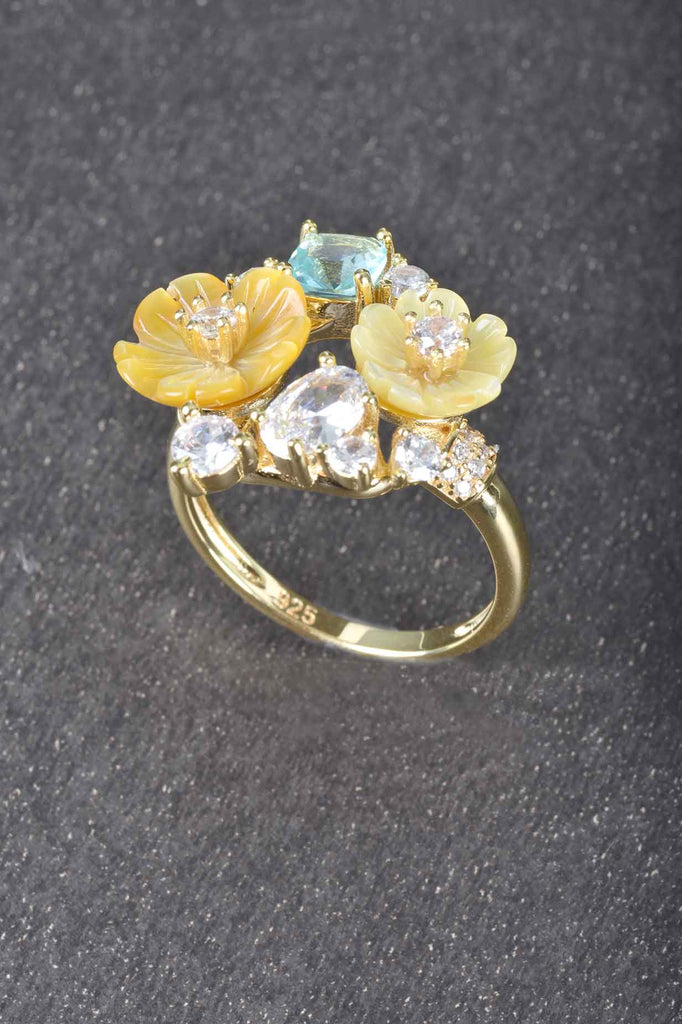 Carved Mother Of Pearl Flower Design Ring