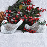 Set of 2 Frosted Christmas Doves