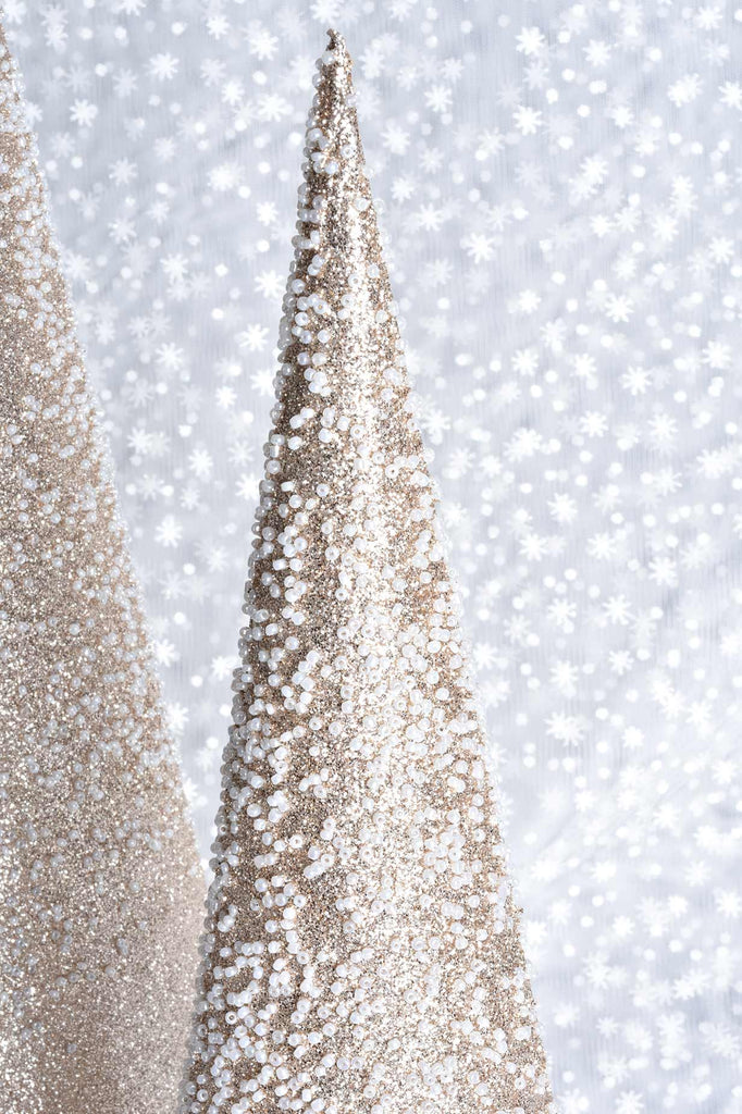 Set of 3 Beaded Gold Glittered Cone Trees w/Fur Trim