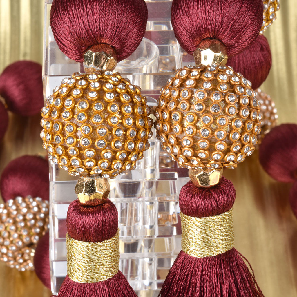 Set of 2 Gold and Burgundy Beaded Tassel Garlands