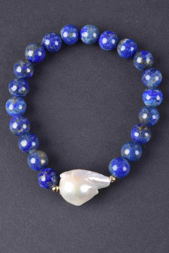 Baroque Pearl and Gemstone Stretch Bracelet