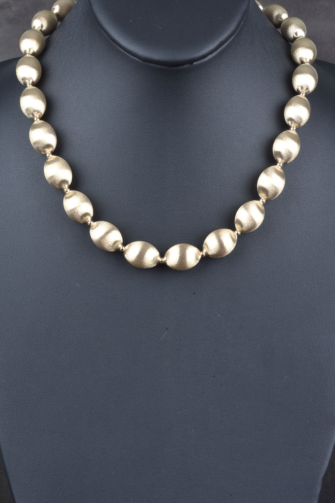 14K Giante Hand Finish Satin Bead Statement Necklace