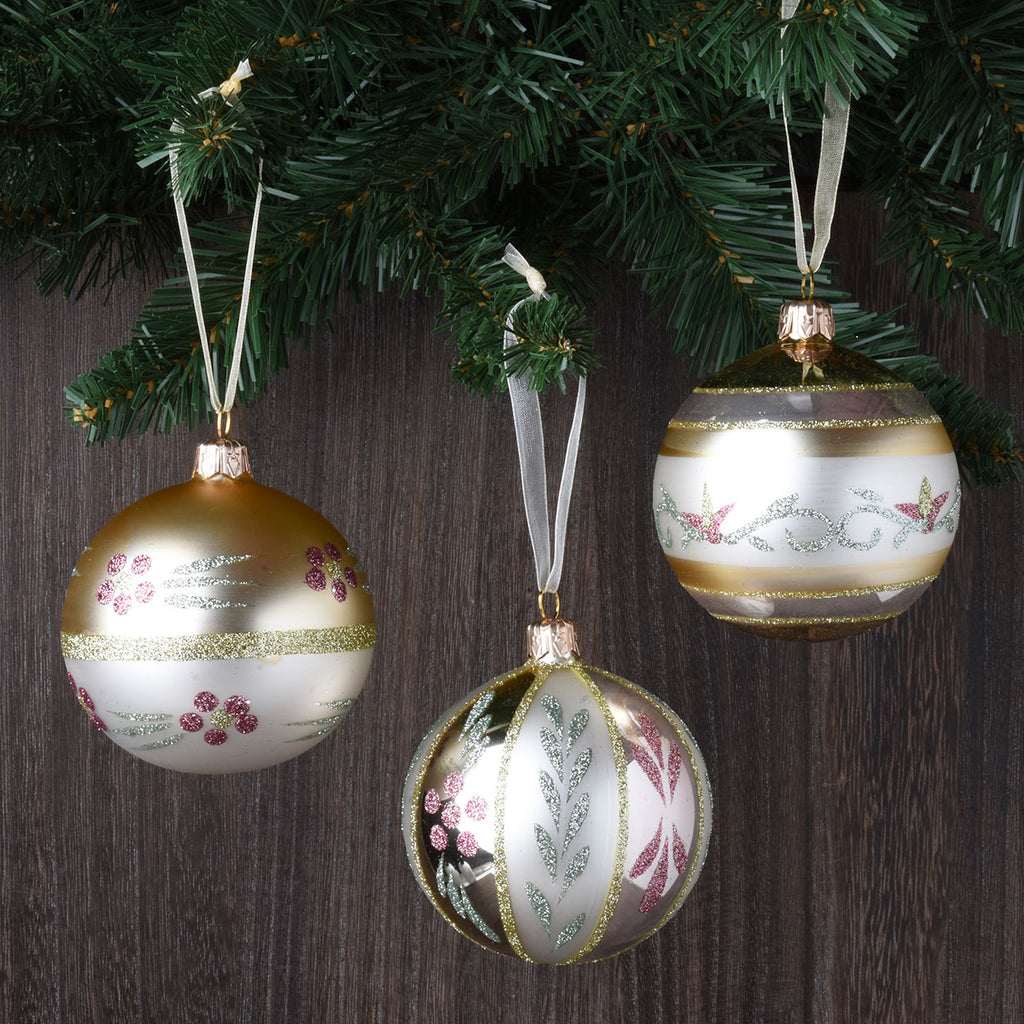 Set of 6 Vintage Flowers Glass Ornaments