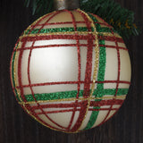Set of 12 Red, Green and Gold Plaid Glass Ornaments