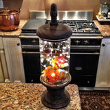 Old World Glass and Wood Pedestal Canister