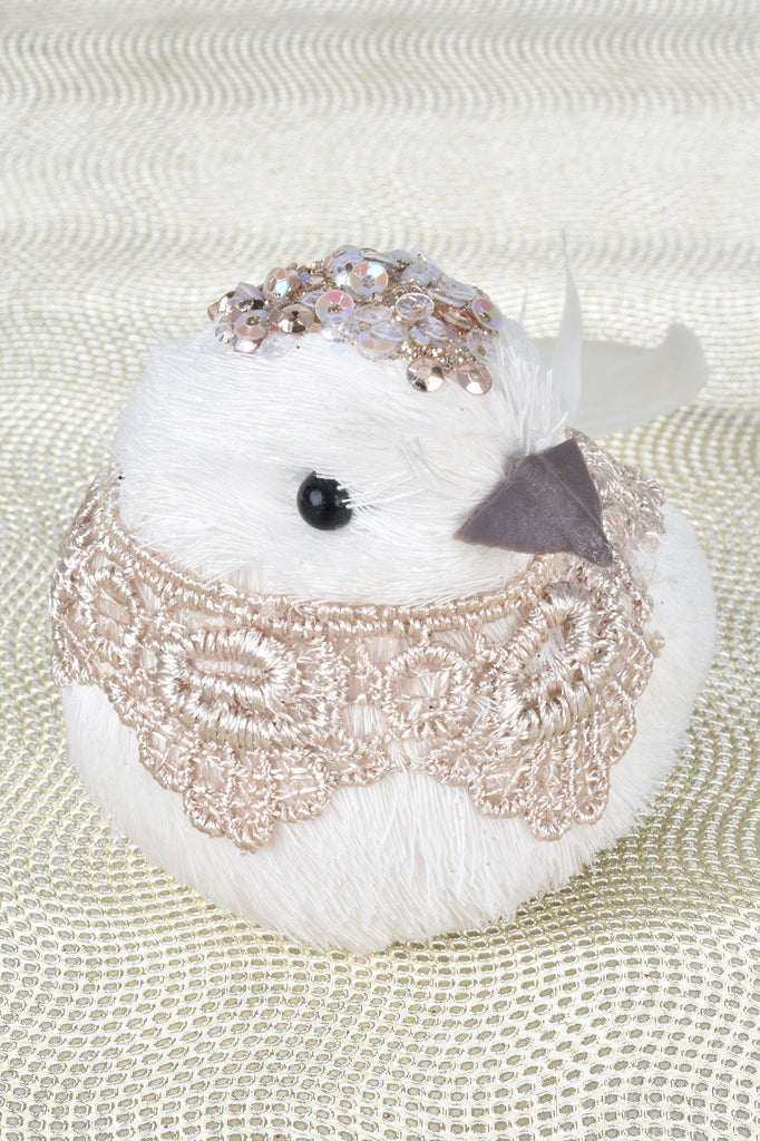 Elegant Clip-On Birds with Beading and Lace