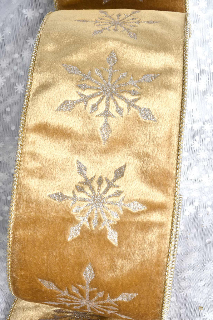Gold with Snowflakes Luxury Wired Christmas Ribbon