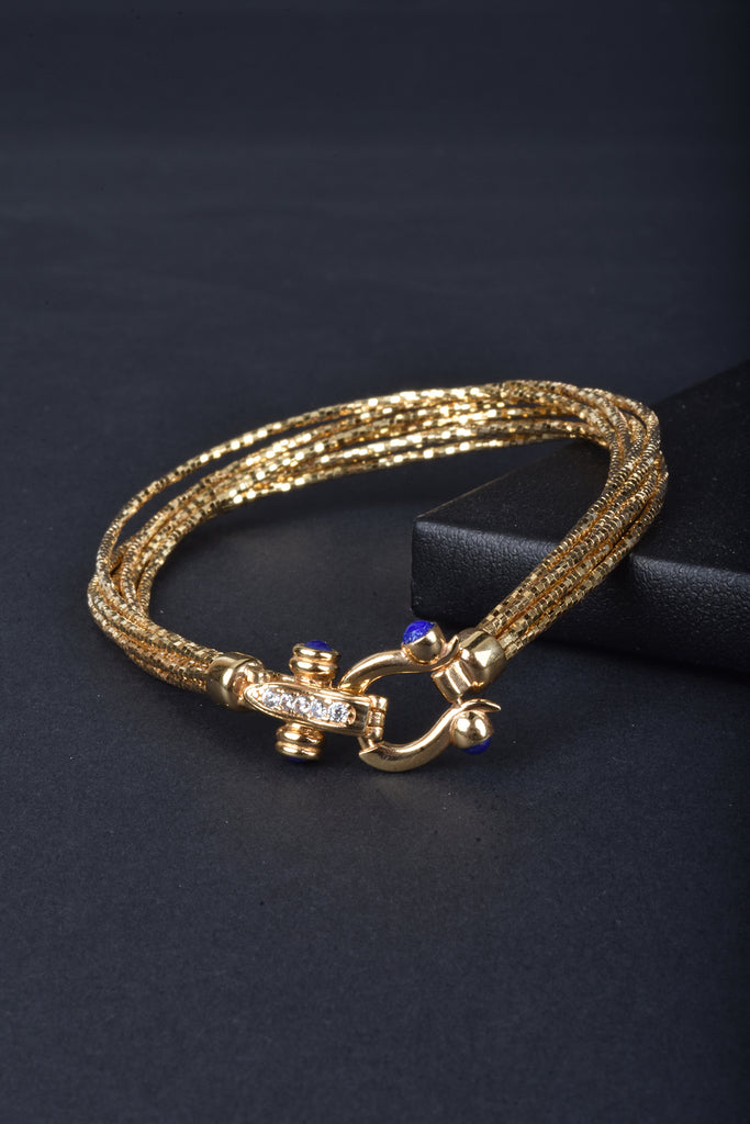 7-Strand Diamond Cut Omega Buckle Clasp Bracelet
