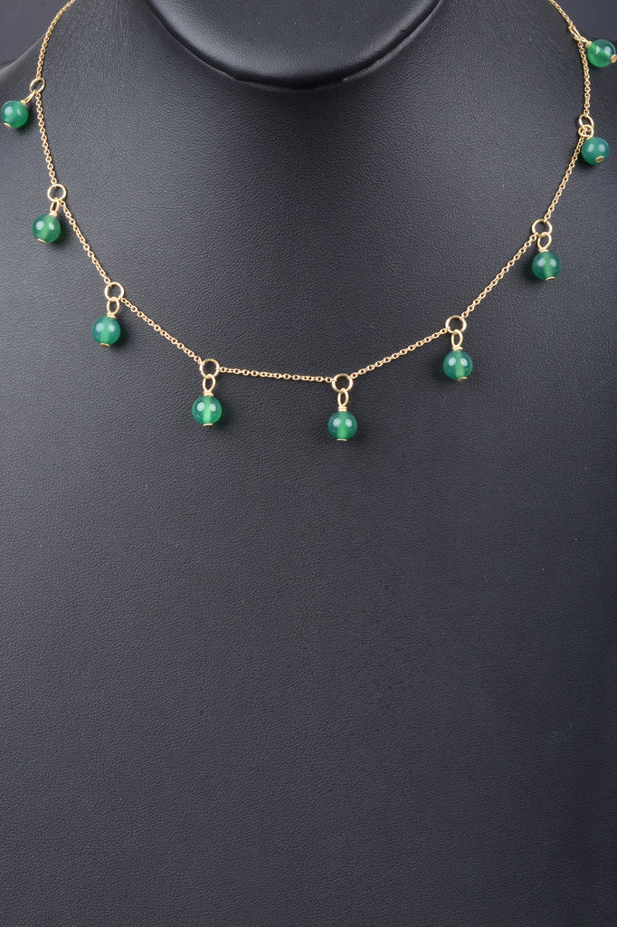 Green Chalcedony Bead Drop Necklace