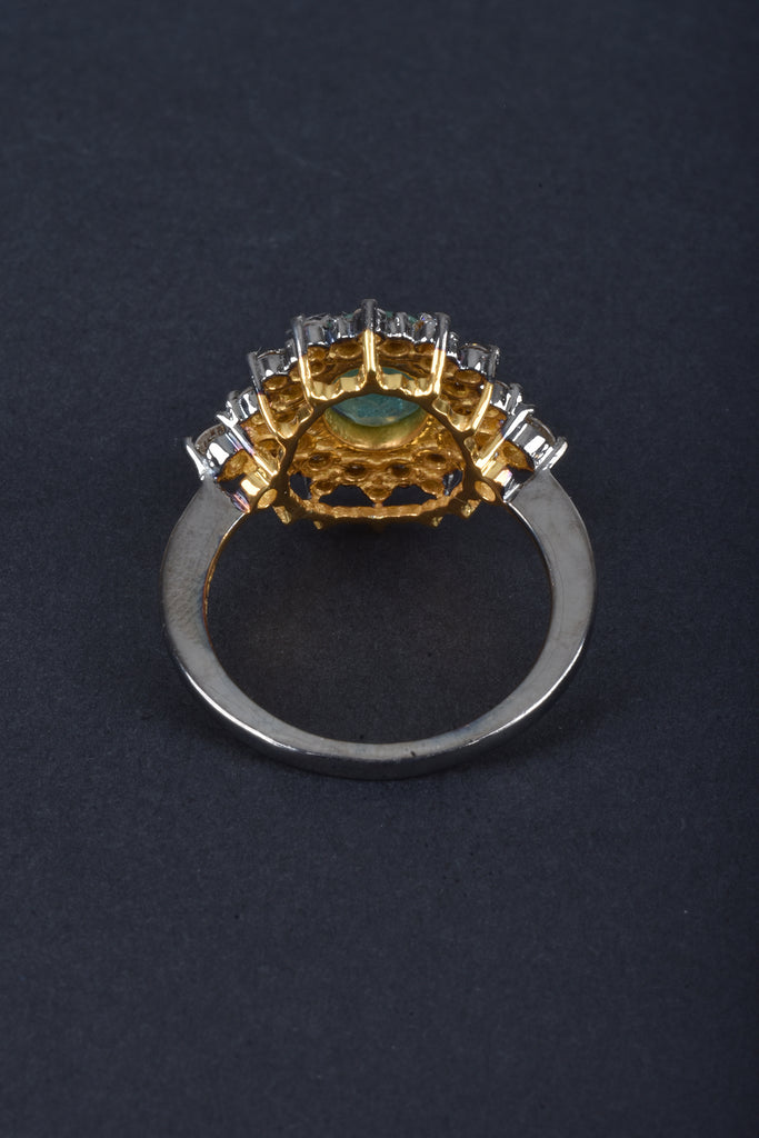 Handmade Oval Emerald and Diamond Ring
