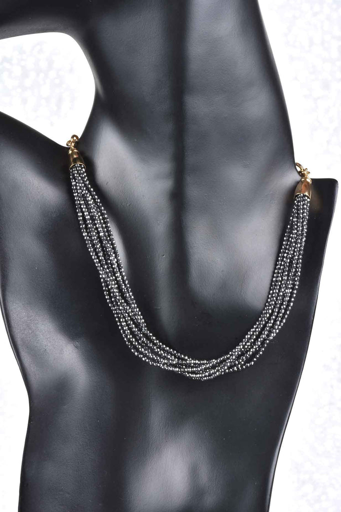 """Look of Diamonds"" 8-Strand Hematite Necklace"