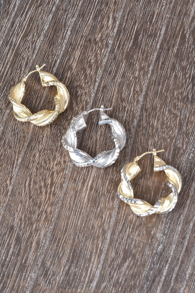 Diamond Cut and Satin Twisted Hoop Earrings