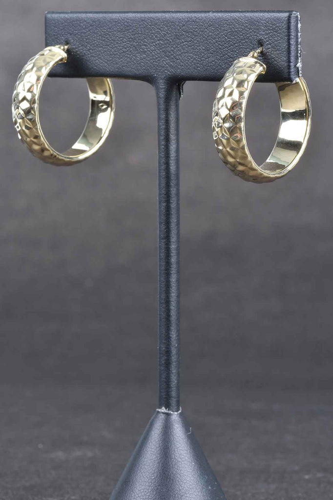 Italian Diamond Cut Hammered Hoop Earrings