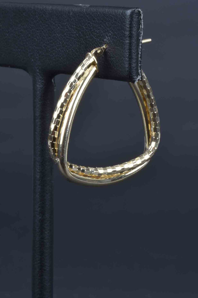 Italian Triangle Shape Double Hoop Earrings