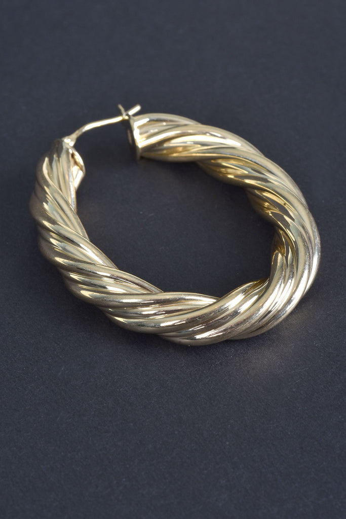 Italian Oval Ribbon Hoop Earrings