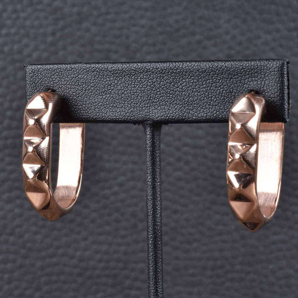 Italian Pyramid Oval Hoop Earrings