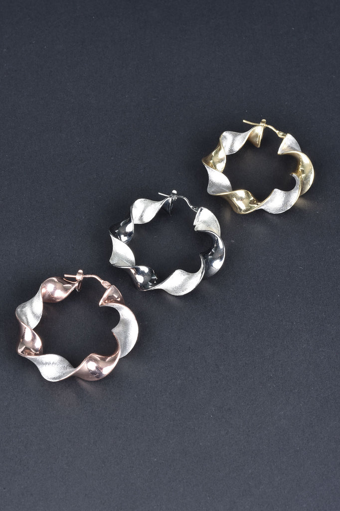 Italian Bi-Color Ribbon Hoop Earrings
