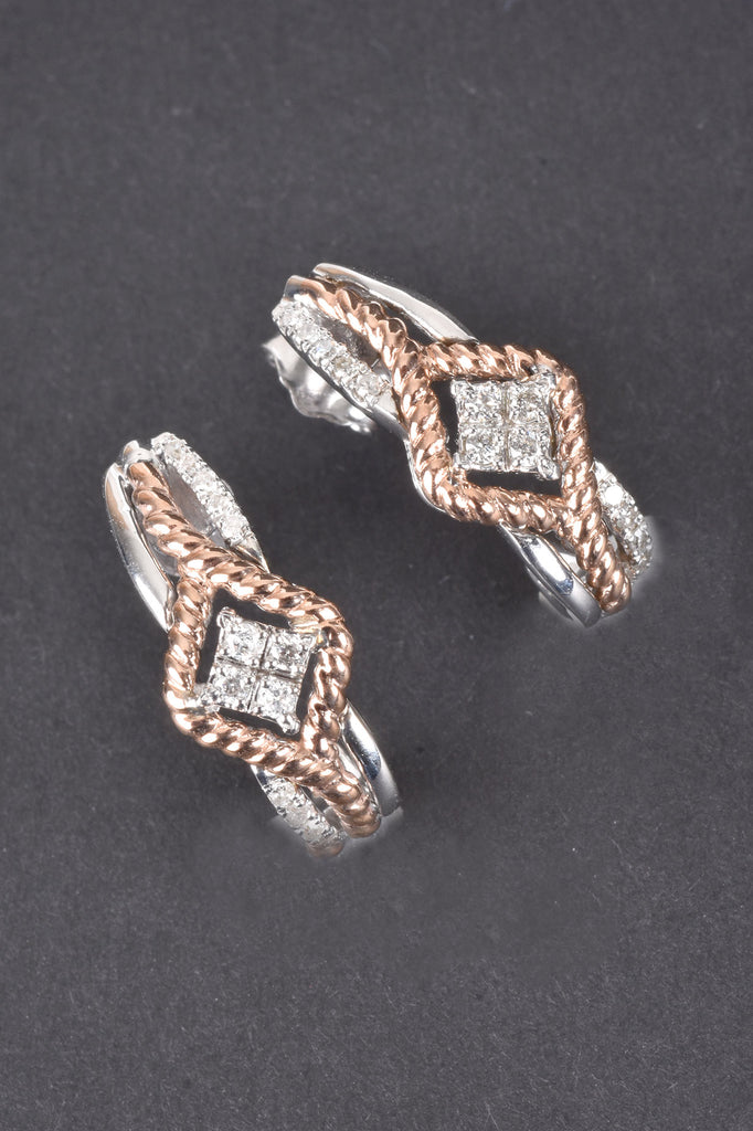 10K Gold and Sterling Silver Diamond J Hoop Earrings