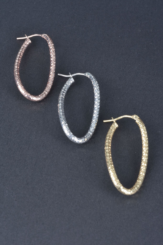 Handmade Diamond Cut Wave Hoop Earrings