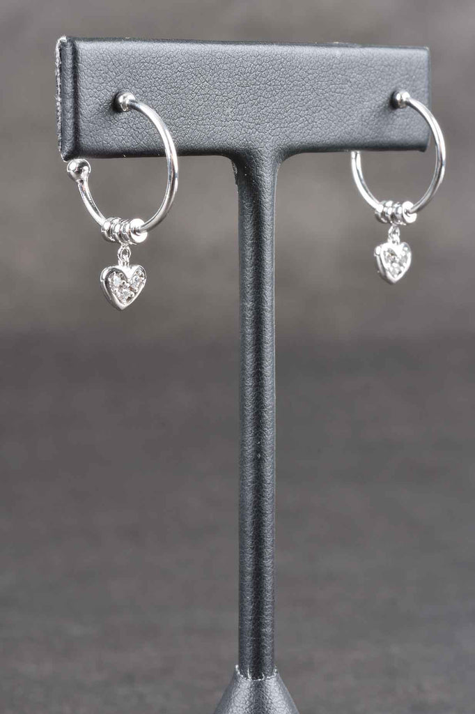 Hoop Earrings with Pave' Charm