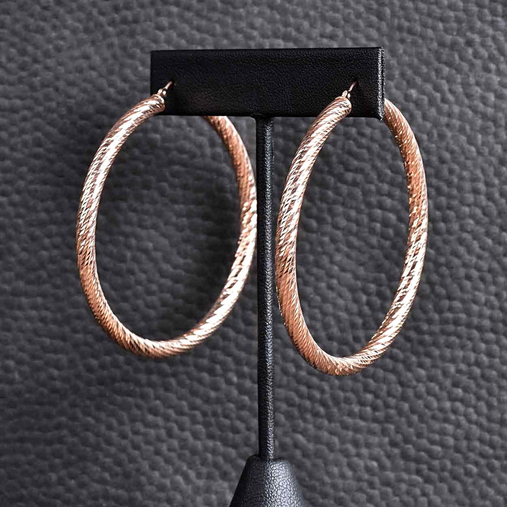 "Italian 2"" Diamond Cut Hoop Earrings"