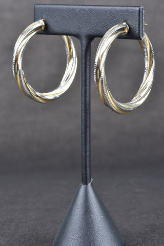 14K Gold Bold Satin and Polished Ribbon Hoop Earrings