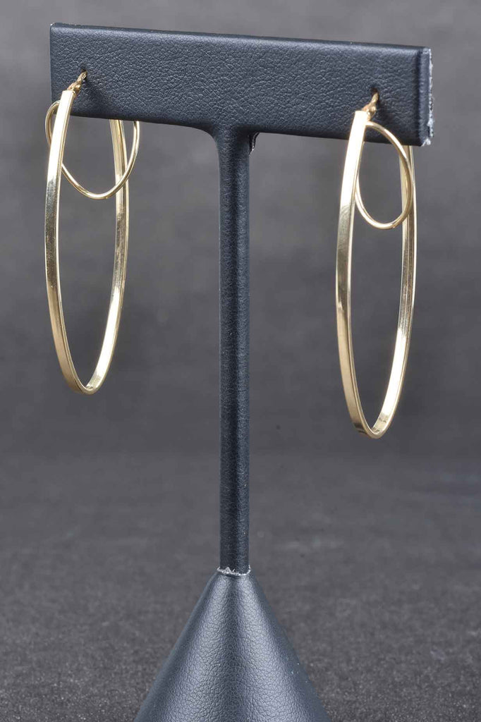 "Italian 2"" Elongated Double Oval Hoop Earrings"