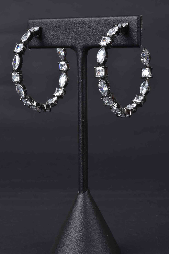 Special Cut Inside/Outside Black Rhodium Hoop Earrings