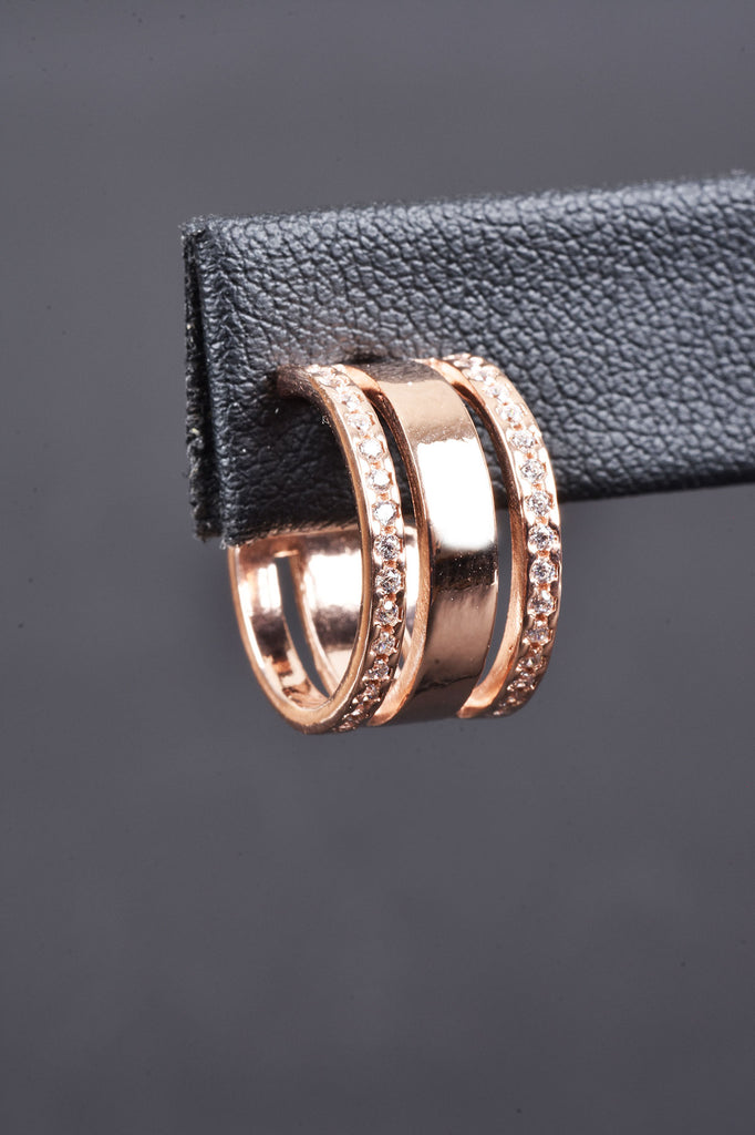Italian Triple Hoop Pave Border Hoop Earrings