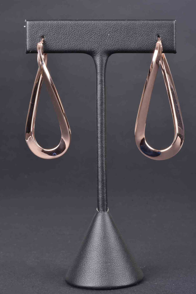 Italian Polished Elongated Twist Hoop Earrings