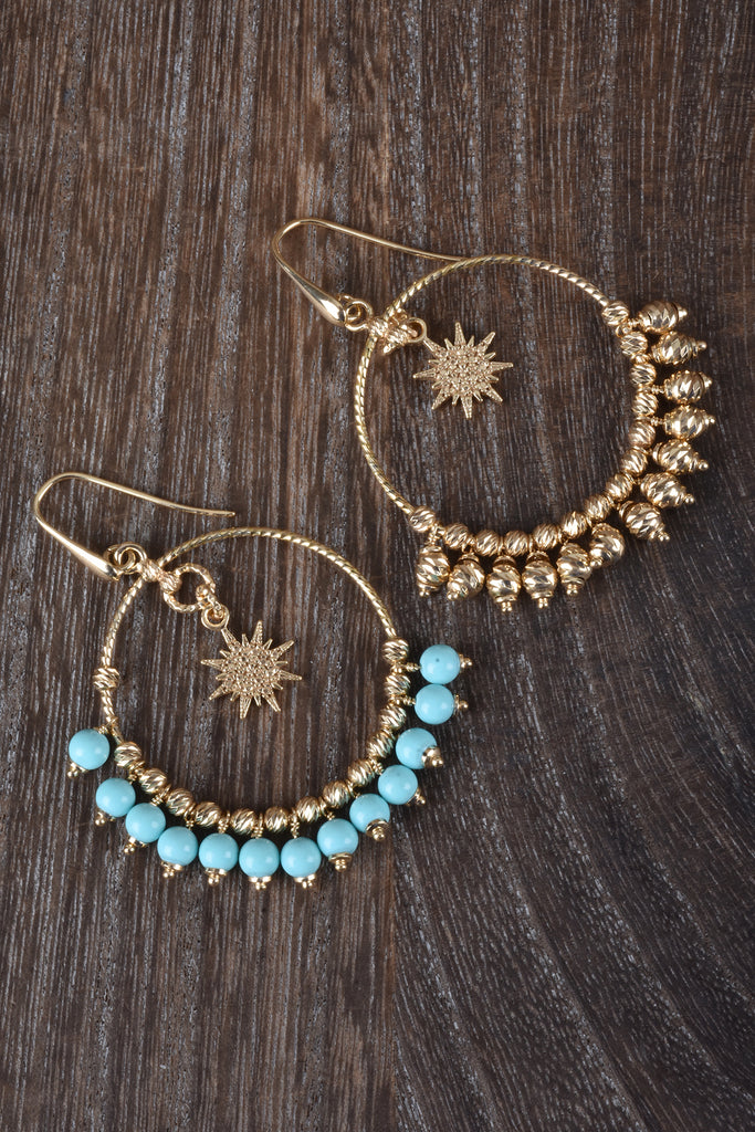 Florentine Handmade Star and Circle Bead Drop Earrings