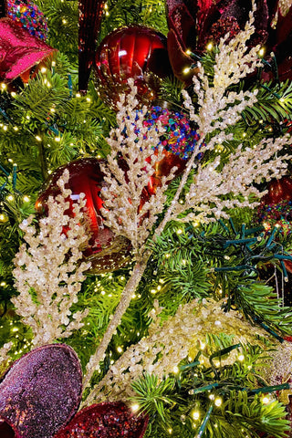 Bottle Brush Tree Topped Glass Ornaments