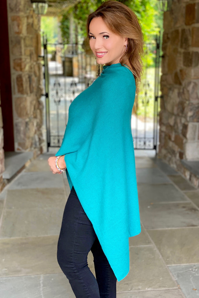Rich Turquoise Hi-Lo Cashmere Poncho