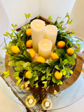 Lemon and Foliage Wreath w/Grapevine Base
