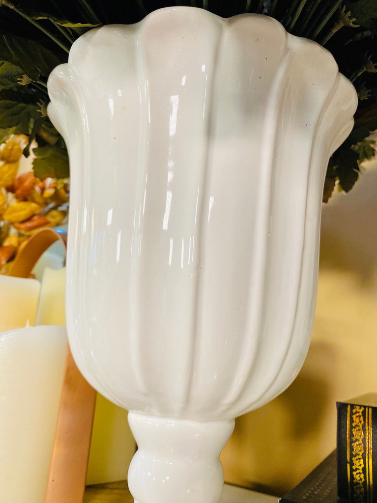 Large White Ribbed Ceramic Vase on Square Base