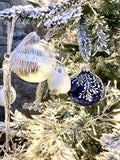 Night Blue Sparkling Branches European Glass Ornaments