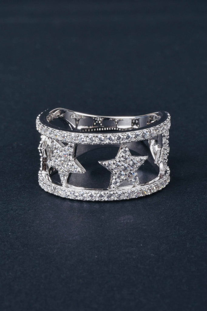 Sparkling Pave Open Star Design Ring