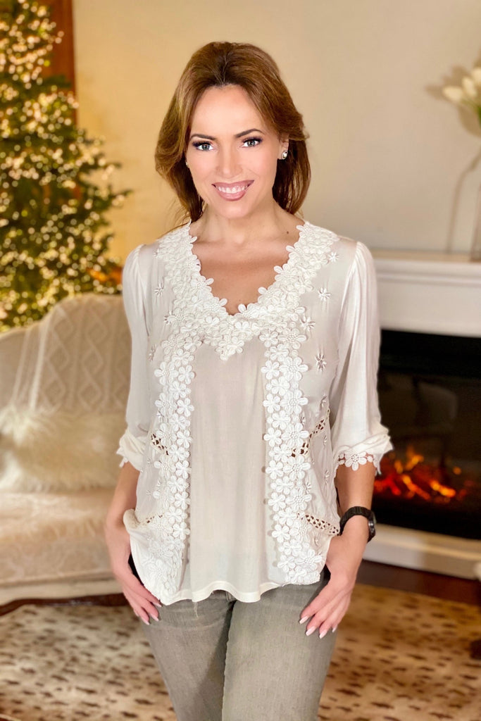 Ivory Feminine Floral Embroidery Blouse
