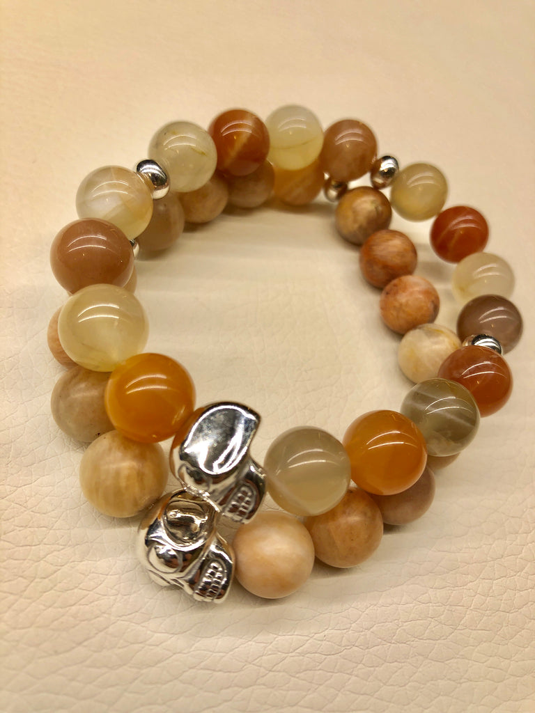 Set of 2 Moonstone Bead Skull Bracelets