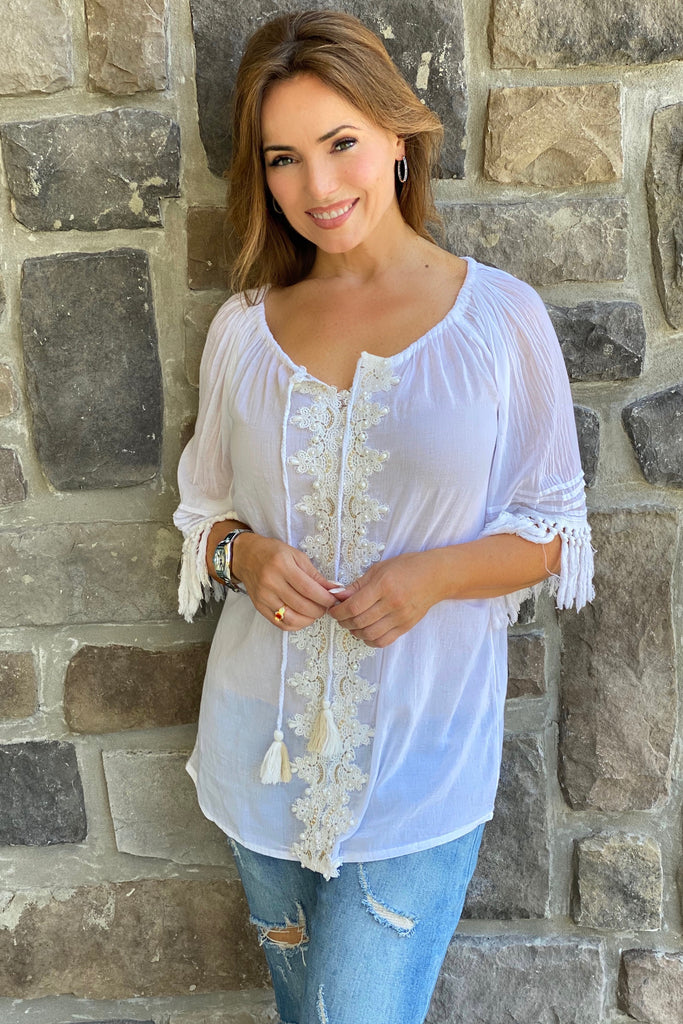 White Tunic with Lace and Pearl Beading