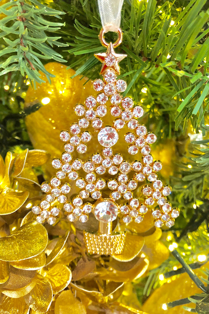 Image Christmas Tree.Sparkling Crystal Christmas Tree Ornaments