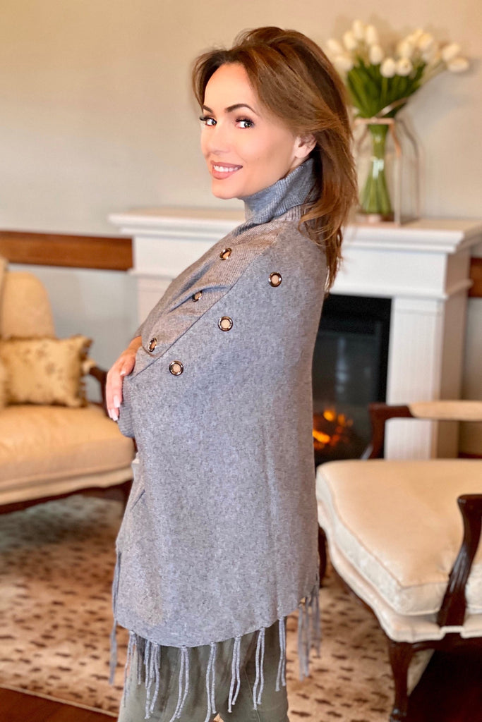 Poncho with Sleeves and Grommet Details