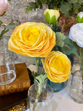 Real Touch Triple Bloom Ranunculus in Glass Bottle