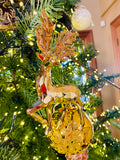 Sparkling Golden Reindeer Ornaments
