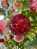 Large Sugared Red Glass Ornaments