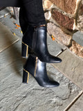 Black Boot with Gold Detail Heel