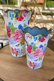 Set of 2 Floral Decor Containers