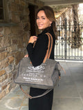 Canvas and Leather Charcoal Weekender Bag
