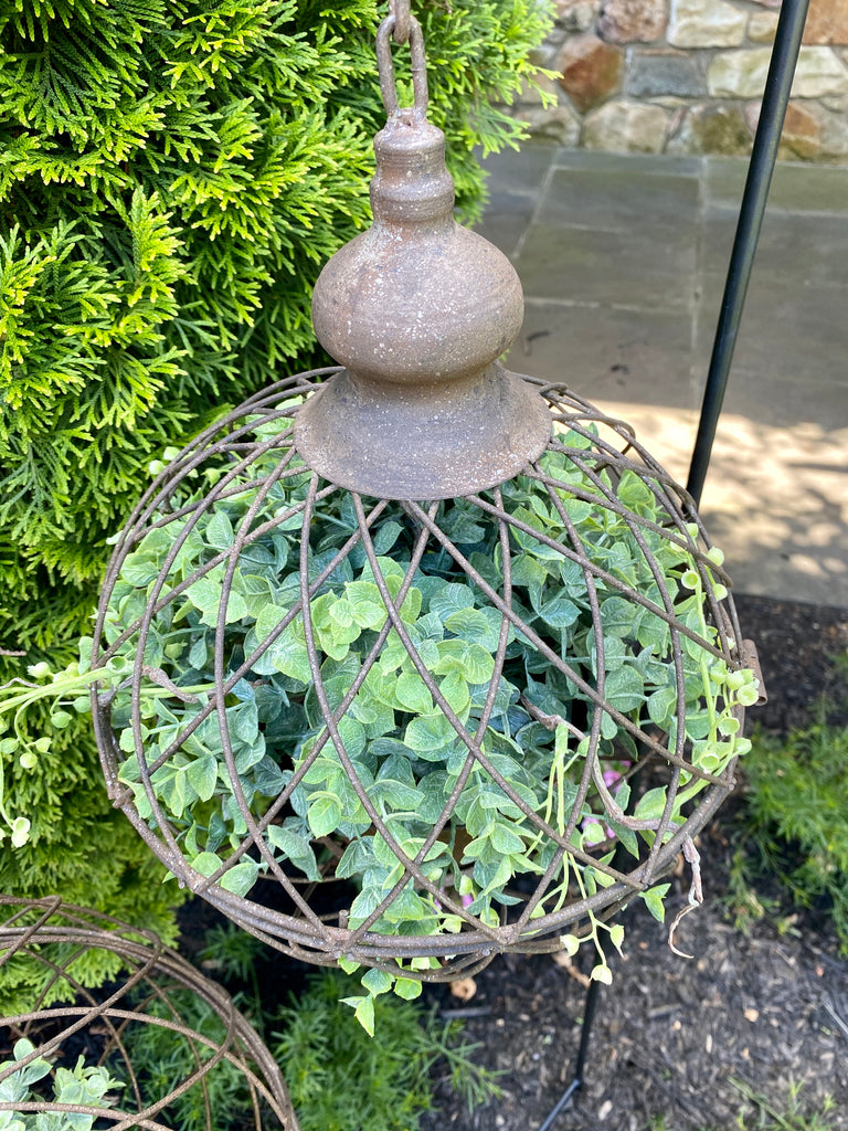 Set of 2 Wire Hanging Cages with Planters